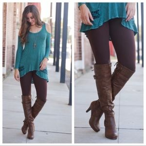NEW!! Brown Brushed Knit Leggings